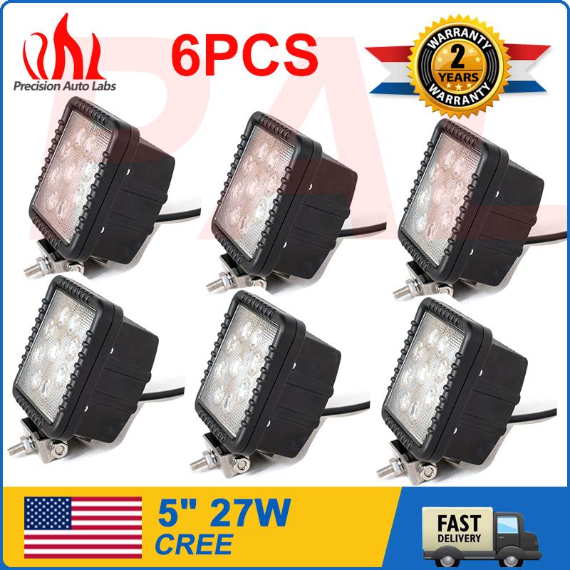 "6pcs 5"" 27W Sqare LED WORK LIGHT SPOT Beam OFFROAD DRIVING LAMP TRUCK 4WD SUV(China (Mainland))"