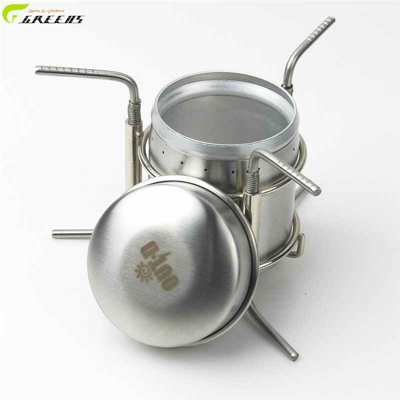 Outdoor Stainless Steel Portable Mini Ultra-light Spirit Alcohol Stove Outdoor Camping Stove Furnace with Stand/ furnace(China (Mainland))