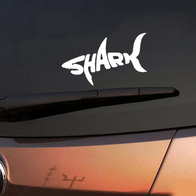 1PC 14*8cm Shark Car Stickers Shark Mad Fish Fishing CarStyling Vinyl Decal for Truck Decor Car Door Body Car Accessories(China (Mainland))