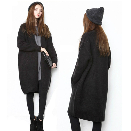 Plus Size Black Sweater Coat - Cashmere Sweater England