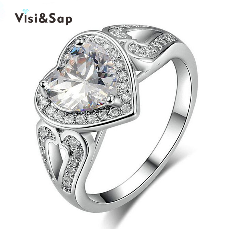 Big Heart ring AAA CZ Diamond jewelry Wedding anel Rings For Women White gold plated fashion Jewelry luxury lovers Gifts VSR193(China (Mainland))