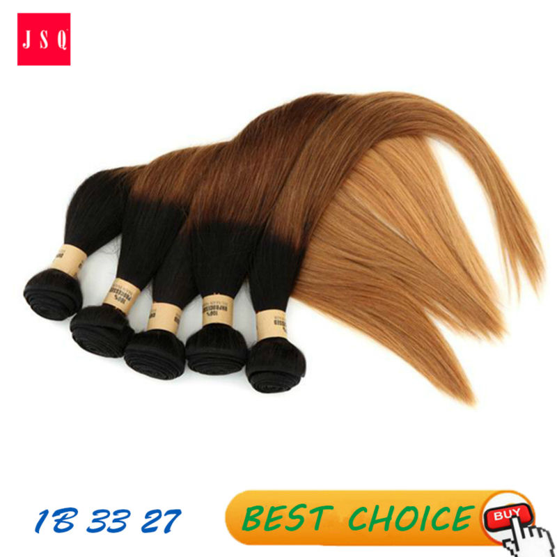 JSQ 1B 33 27 Brown Ombre Hair Weft  3 Bundles Per Pack  Straight Hair Weaving Indian Living Hair Free Shipping By UPS<br><br>Aliexpress