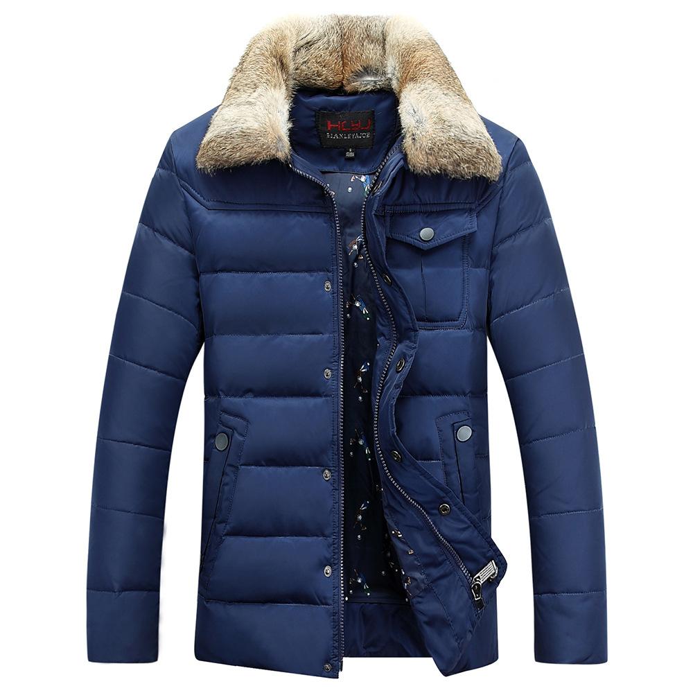 4 COLORS British Men's Blue Denim Jacket Lapel Big Fur Collar Winter 2015 Warm Coats & Outwear M-2XL