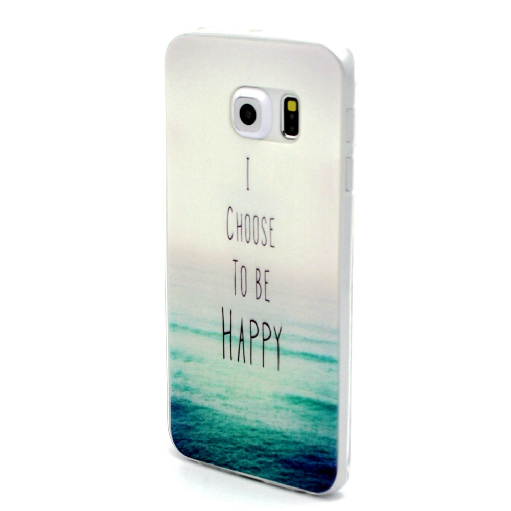 New TPU Rubber Soft Silicone Be Happy Design Back Cover Skin Case For Samsung Galaxy S6 Edge G9250(China (Mainland))