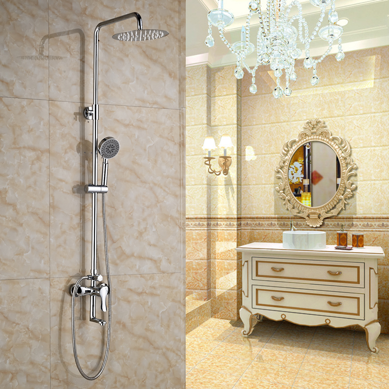 Wall Mounted Bathroom Shower Faucet 8 Inch Brass Rain Shower Head With Hand Sprayer Chrome Finished