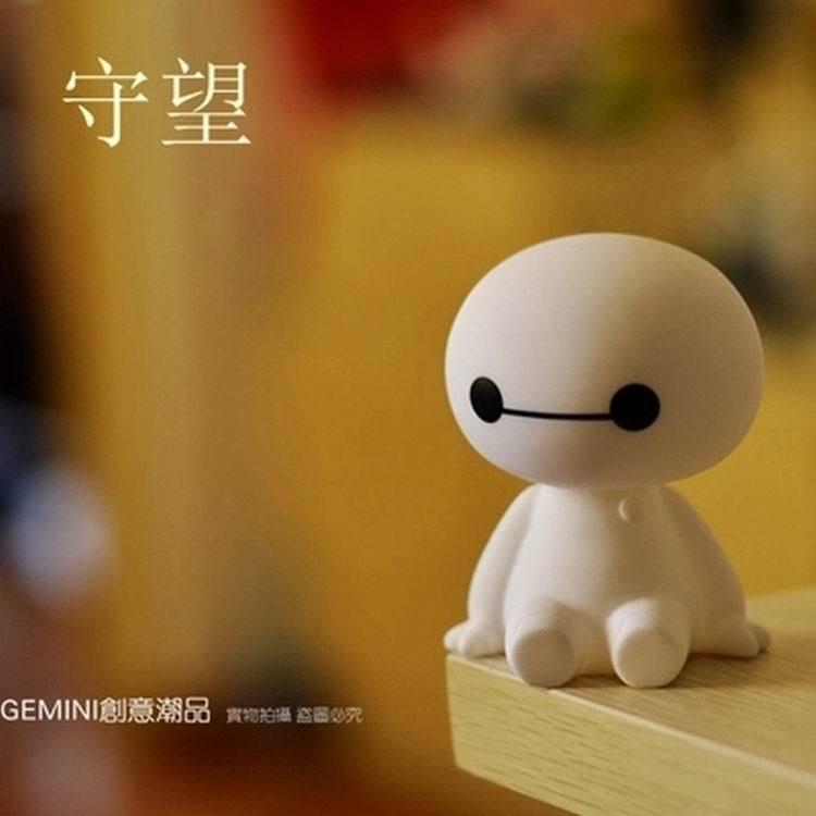 2015 Hop sale Big Hero 6 Super Cute Baymax Robot Car Ornament Head Shaking Toy cute Car Decoration(China (Mainland))