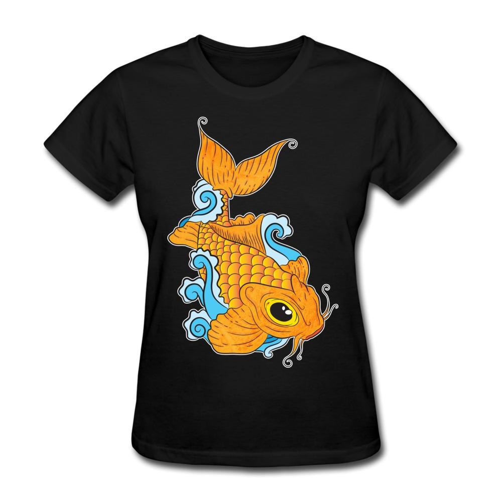 Custom short sleeve women s t shirt koi fish vintage logo for Dropship t shirt business