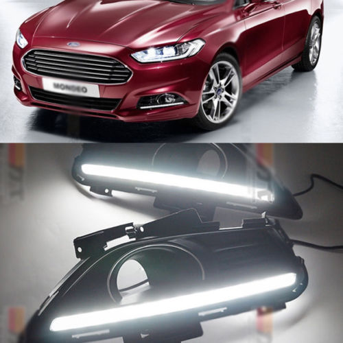 Free shipping 2 White LED Daytime Day Fog Lights DRL Run lamp For Ford Fusion Mondeo 2013-2014(China (Mainland))