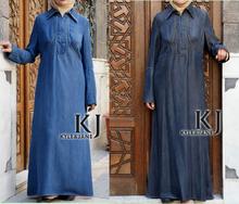 Turkish clothing maxi evening muslim women dress, Denim arabic kaftan long robe islam moslim dress WAB30015(China (Mainland))