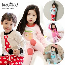 DHL EMS Free shipping 2016 New kacakid Baby Girls Boys 2pc pajamas Suit Cartoon Cute Children's sleepwear 6 pcs/lot 80-90-95(China (Mainland))