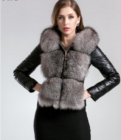 Customized hot 2014 winter women warm fox fur down coat plus size 4XL 5XL genuine sheepskin leather fox fur down overcoatОдежда и ак�е��уары<br><br><br>Aliexpress