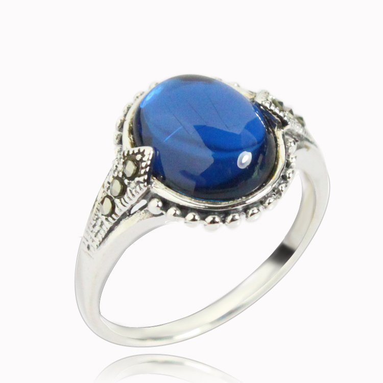 Laoyinjiang 925 silver ring pure silver female thai silver blue corundum ring finger ring(China (Mainland))