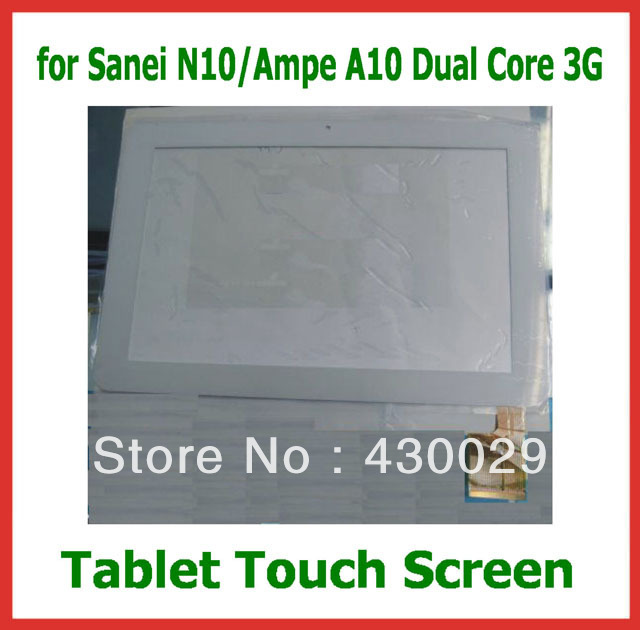 """10.1"""" Replacement Screen Touch Panel Digitizer for Sanei N10 Dual Core 3G & Ampe A10 Dual Core 3G White Color Free Shipping(China (Mainland))"""