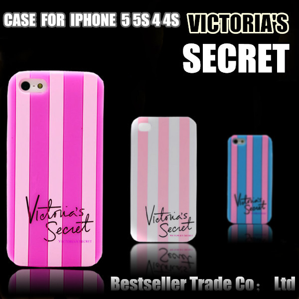 2014 Victoria Style Luxe Soft Rubber Stripe Secret PINK Case Covers iphone 4 4g 4s/5 5s Phone Cases Vertical - Shenzhen Best Seller Trading Co., Ltd. store