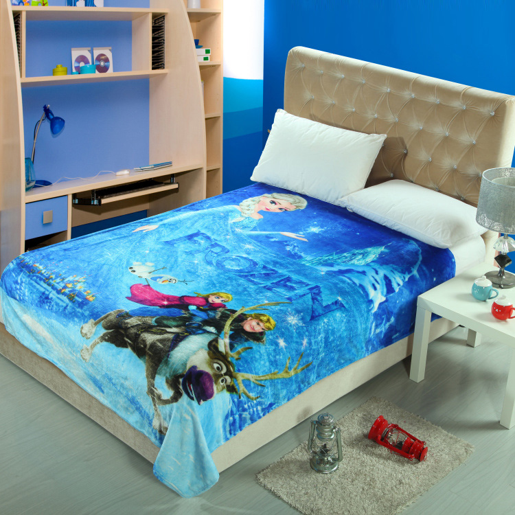 Cartoon Character Frozen Printed Blankets Throw Bedding 150*200CM Size Boys Baby Children's Bedroom Decor Polyester Blue Color(China (Mainland))