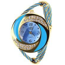 Aliexpress venta de colores brillantes trenzado correa de cuero dial tres veces su de diamante sra. reloj pulsera de cuarzo