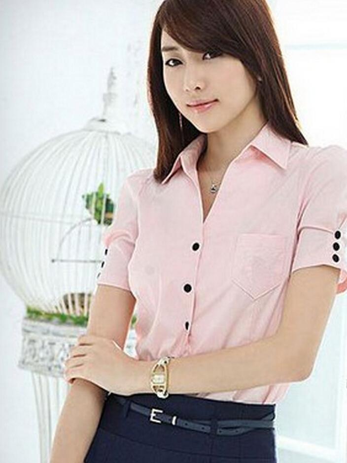 New women fashion puff sleeve blouse cotton t office shirt lady summer collar button short sleeve slim blouse shirt top S-XL(China (Mainland))
