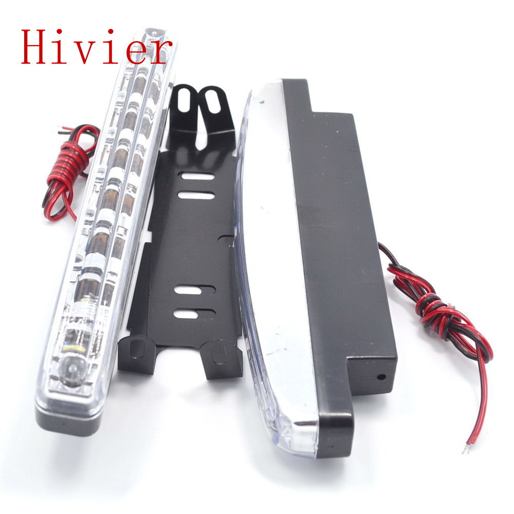 New 2X Auto Durable Car Daytime Running Light 8 LED DRL Daylight Super White DC 12V Head Lamp Parking Fog Lights free shipping