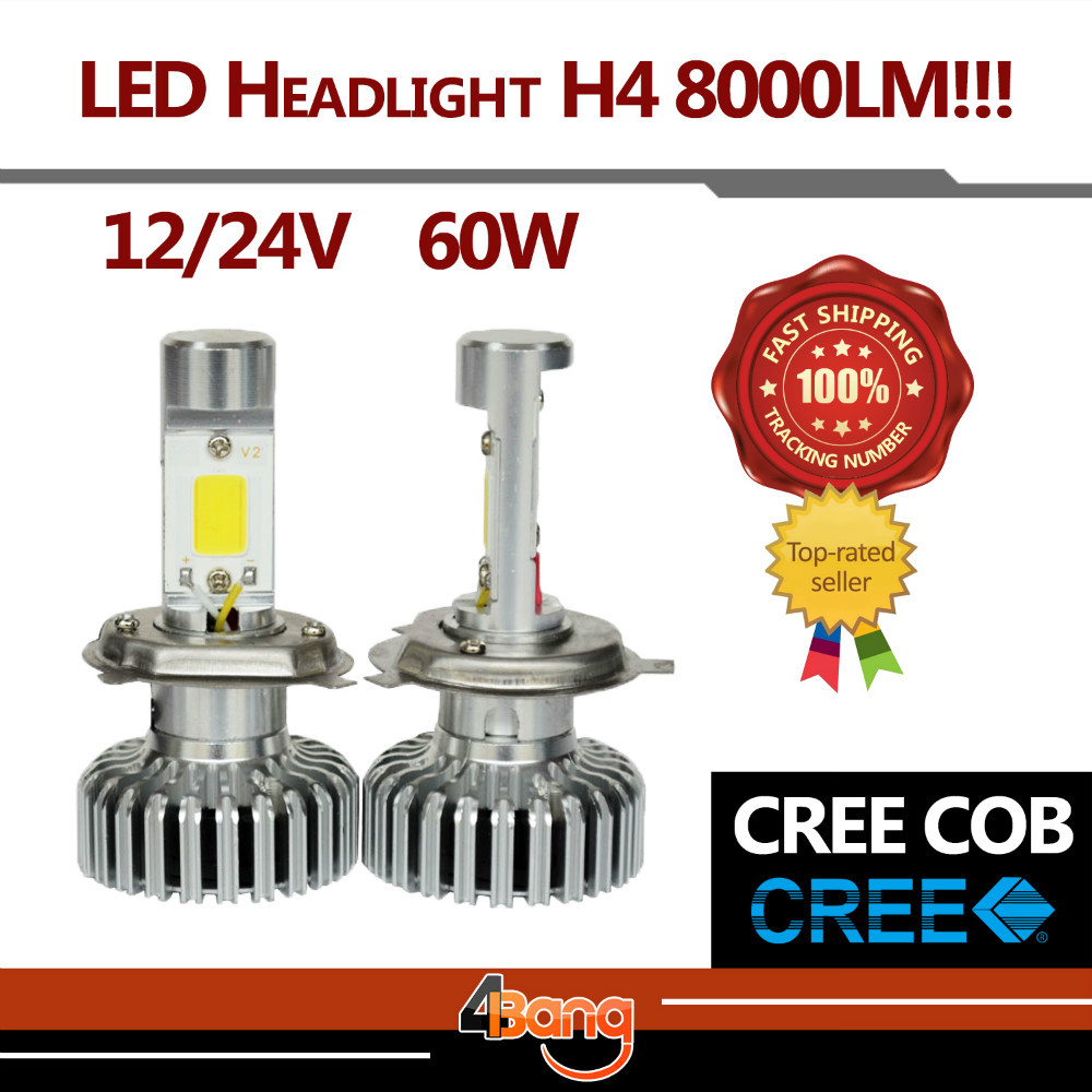 Pair Hi Lo Beam Lamp H4 60W/Set 8000LM CREE COB LED Car Auto Headlight 6000K White Fog Headlight Just Plug & Play(China (Mainland))