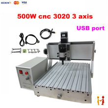 3 Axis CNC 3020 Engraving Machine 500w Spindle Motor with USB Port MACH3 AC220V/110V Control 2030 wood CNC Router(China (Mainland))