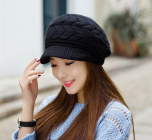 Elegant Women Hat Winter & Fall Beanies Knitted Hats For Woman Rabbit Fur Cap Autumn And Winter Ladies Female Fashion Skullies(China (Mainland))