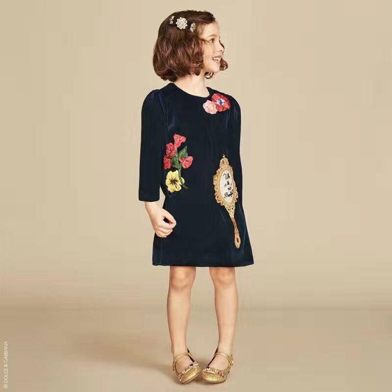 Скидки на Wlmonsoon девушки золото бархат дети платье дети мода европа стиль roupas infantis menina детская одежда 6 шт./лот
