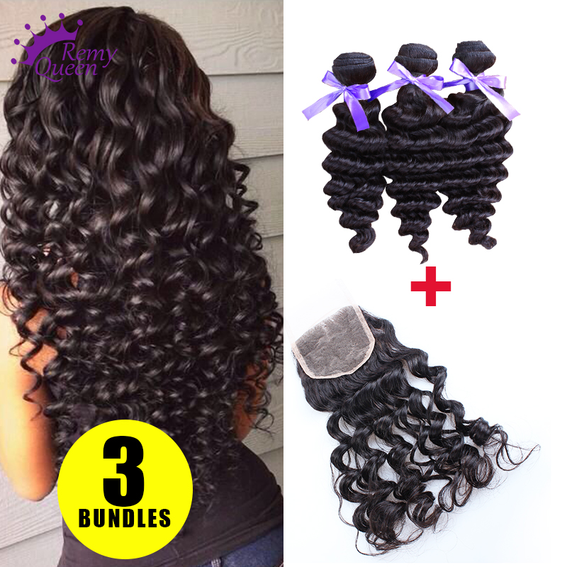 Virgin Peruvian Hair Deep Wave Lace Closure with 3 Bundles Hair Weaves Unprocessed Human Hair Extensions Free Shipping<br><br>Aliexpress