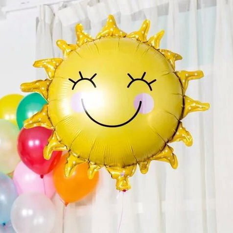 Hot new 1pc The New Sun Flower Foil Balloons Smiley Sunshine Sun Aluminum foil Balloon Birthday party Wedding Decoration globos(China (Mainland))