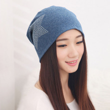 2015 Autumn Fashion New Knit Baggy Beanie Hat with Star Female Warm Winter Hats for Girls Women Beanies Bonnet Head Cap M0578(China (Mainland))