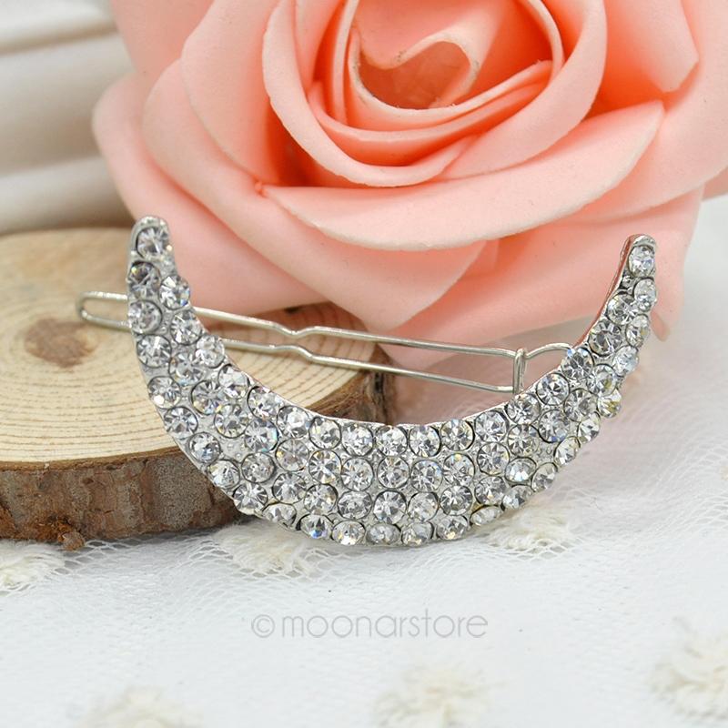 New Style Light Korean Hair Jewelry Full Rhinestone Moon Shape Hair Clip Barrettes Accessaries FYMPJ026#Y5(China (Mainland))