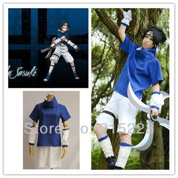 Japanese Anime Naruto Uchiha Sasuke Cosplay Costume Suit - Blue + black(Free Shipping)