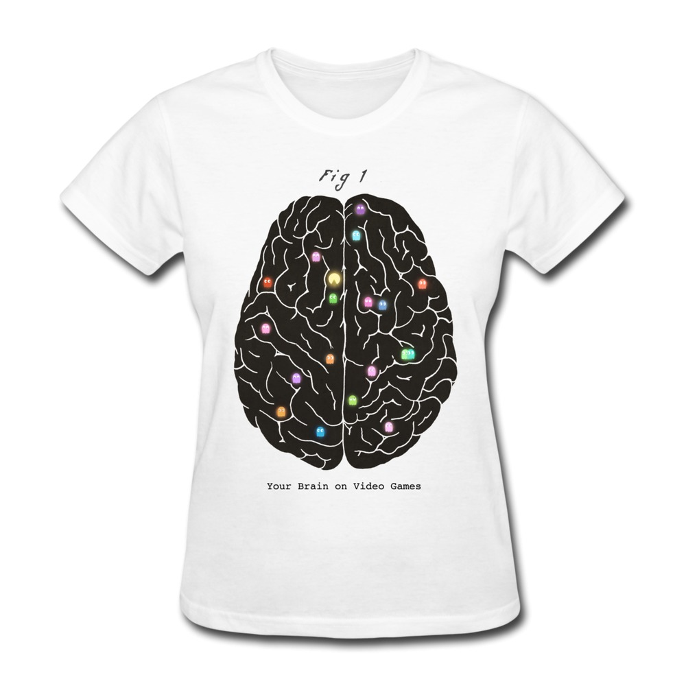 new fashion Your Brain On Video Games t-shirt music organic cotton Womancrazy t shirts for Lady's(China (Mainland))