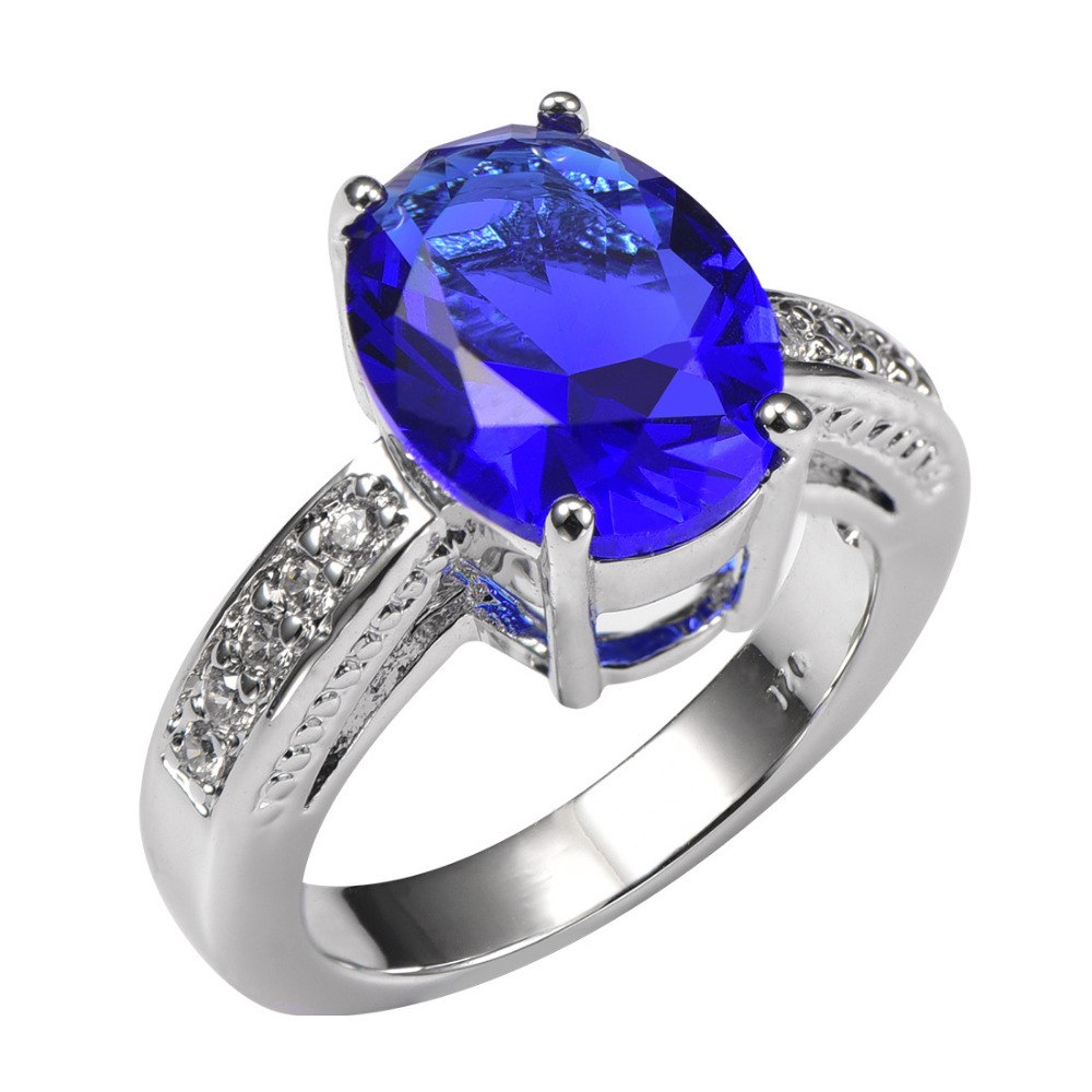 shiny blue sapphire with multi white sapphire 925 sterling