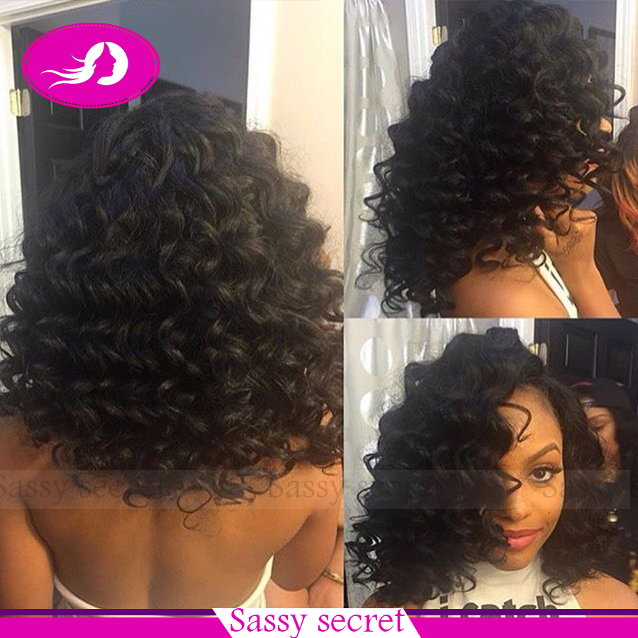 Hot selling loose curly lace front wig black glueless heat resistant synthetic lace front wig for black women free shipping