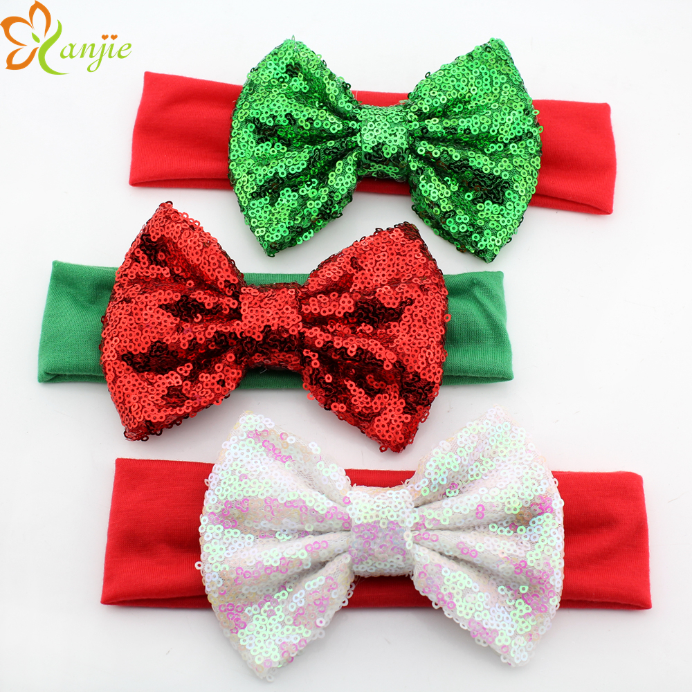 15pcs/lot Infant Headband Headwrap Christmas Headwear 5'' Sequin Bow For Girl Gifts Elastic Headband Hair Accessories(China (Mainland))