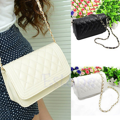 free shipping New Hot Fashion Women Girls Small Chain Quilted Shoulder Cross Body Bag 2 Colors(China (Mainland))