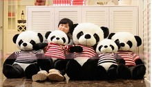 lovely big panda toys stuffed panda huge plush panda with blue stripe clothes birthday gift about 90cm