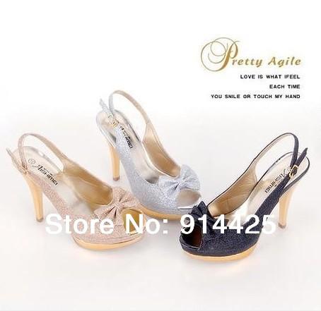 2013 fashion open toe bow elegant platform ultra high heels sandals
