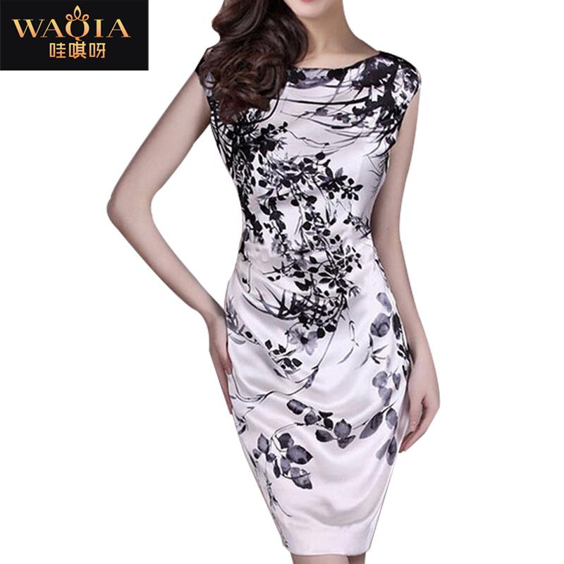 New 2015 tropical vestidos women summer dress S-3XL vestidos plus size women's heavy silk mulberry silk print casual dress(China (Mainland))