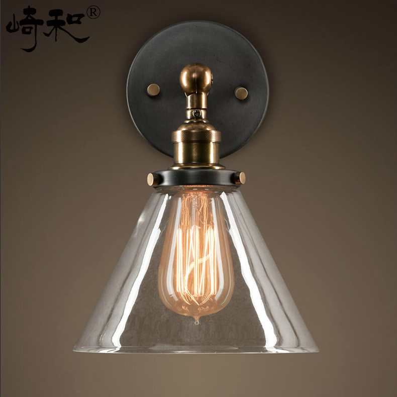Free shipping High quality Glass Lampshade wall lamp Loft Northern Europe american vintage retro country wall ligh<br><br>Aliexpress