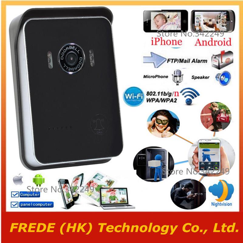 WiFi Doorbell,Door bell Wireless IP intercom interfone peephole camera,smart phone video unlock alarm by android Mobile ISO Ipad(China (Mainland))