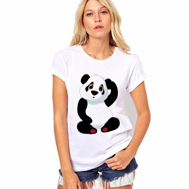 Майка Женщин 2016 Летняя Мода Хлопок Panda Печать С Коротким Рукавом О-Образным Вырезом Белый Топы Рубашка