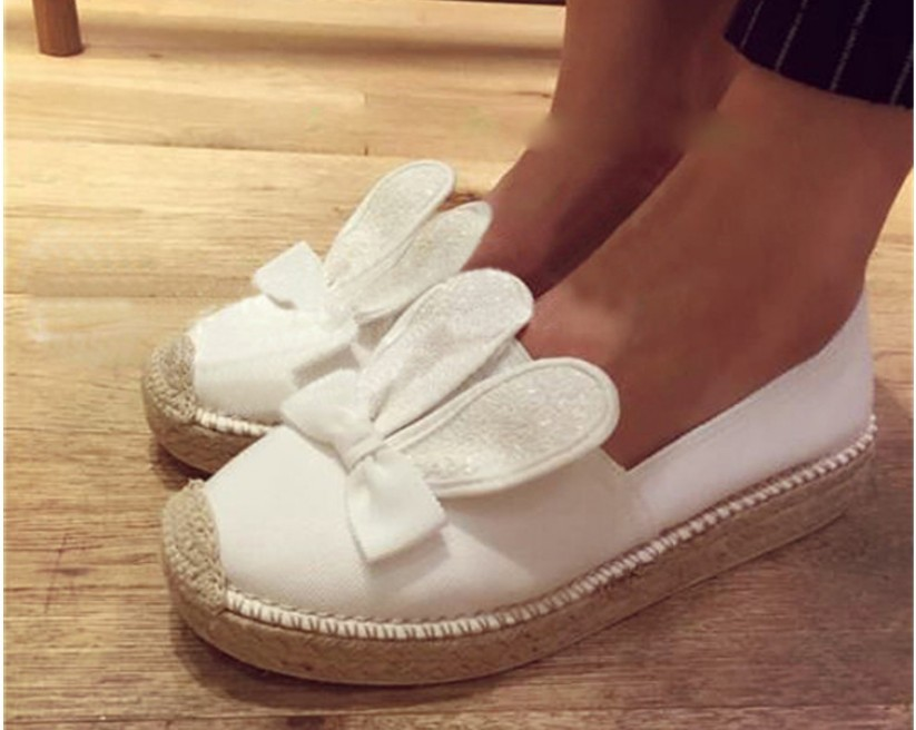 2015 summer new tide shoes thick bottom shoes rabbit ears fisherman hemp straw shoes sequined shoes cat shoes