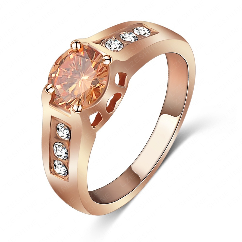 LZESHINE Brand Wedding Ring 18K Rose Gold Plated Engagement Ring With Round Austrian Crystals Free Shipping