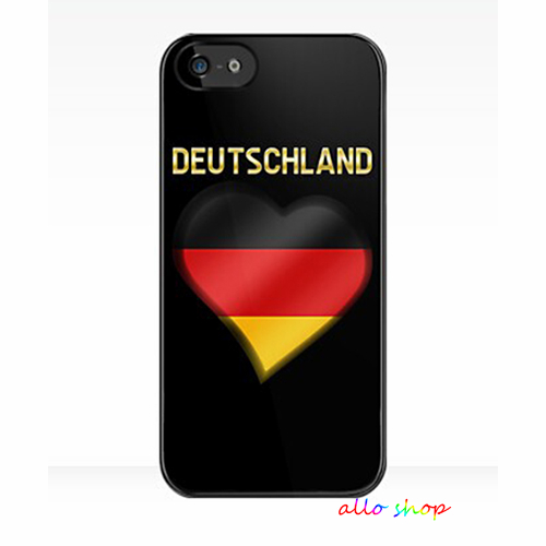 World Cup Deutschland German Flag Heart Text Metallic cell phone case cover for iphone 4 4s 5 5s 5c SE 6 6s & 6 plus 6s plus #96(China (Mainland))