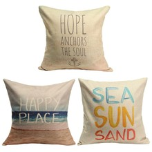 Home Seat Hotel Pillow Case Cushion Retro Hope Happy Cover  Letters Couch Square Cotton Linen(China (Mainland))