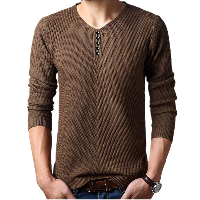 M-4XL Winter Henley Neck Sweater Men Cashmere Pullover Christmas Sweater Mens Knitted Sweaters Pull Homme Jersey Hombre 2015(China (Mainland))