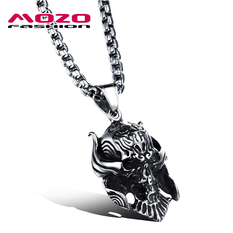 Punk Style Fashion Men's Accessories Skull Mask Design Pendant Necklace Stainless Steel Link Chain Man Vintage Jewelry MGX1042(China (Mainland))
