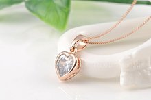 1PCS Free Shipping Fashion Austrian Crystal Heart Necklace for Women Rose Gold Plated Gift Jewelry