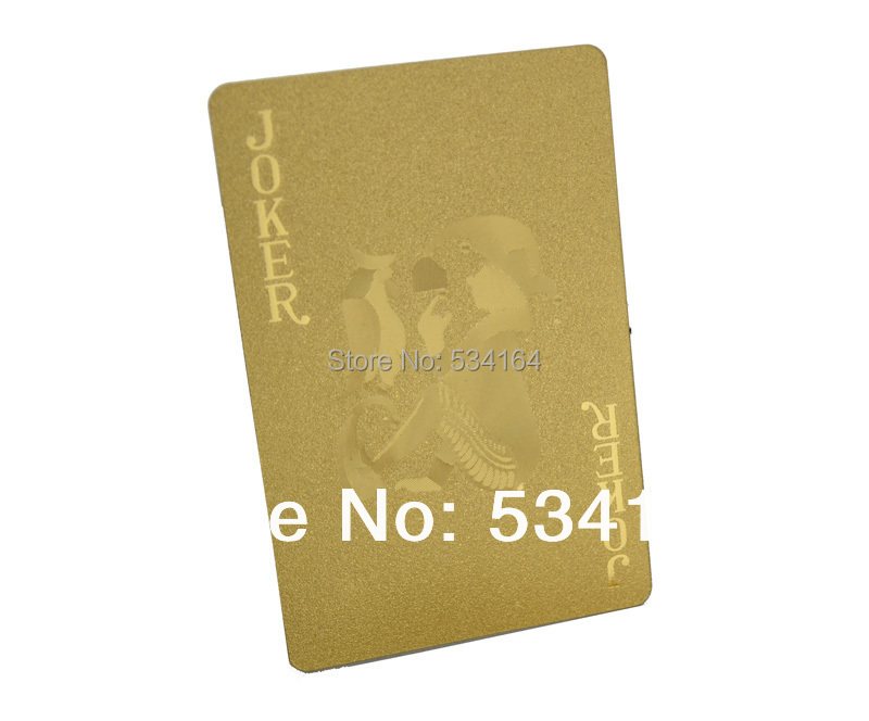 ONE DECK PLASTIC POKER NORMAL VERSION 24K GOLD FOIL PLAYING CARDS(China (Mainland))